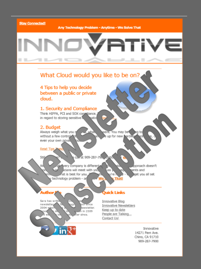 Newsletter - Get your Innovative Newsletter here!